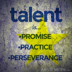 Talent equals promise, practice, perseverance